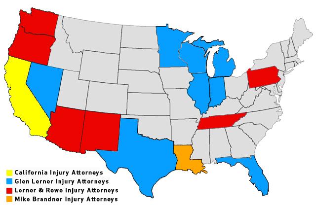 California Injury Attorney's Map